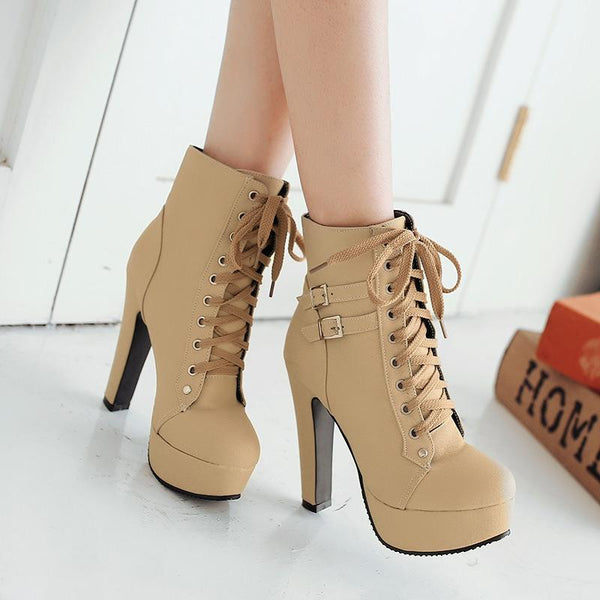 Special package Lace Up Round Toe Platform Stiletto High Heels Short Martin Boots