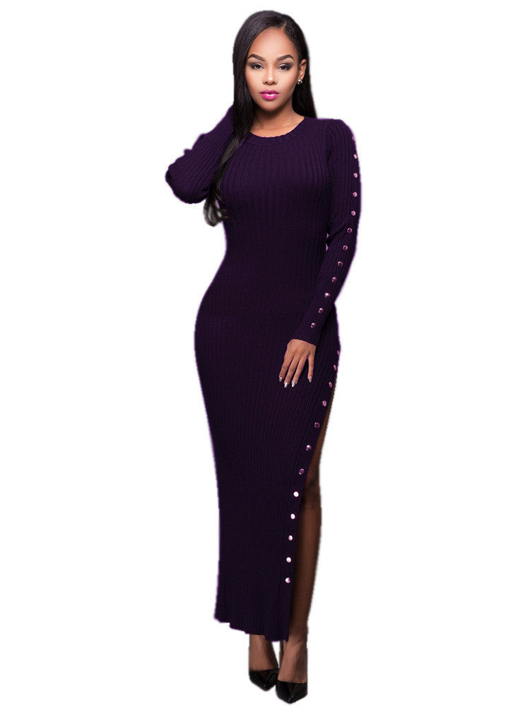 Sexy Stretchy Ribbed-Knit Side Split Rivets Long Dress