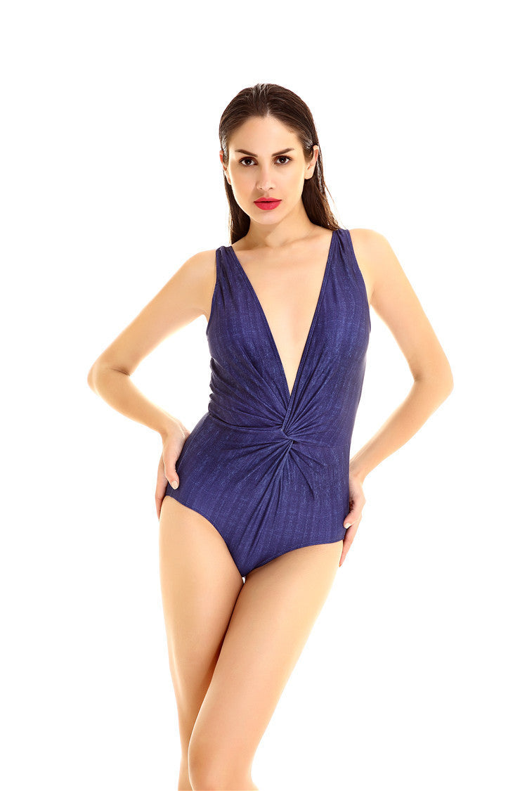 Sexy Wrap Deep V Neck One Piece Padded Swimwear