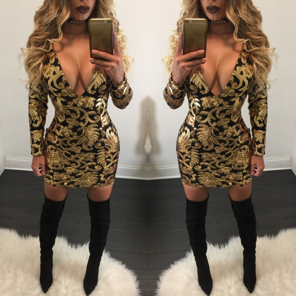Floral Print Deep V Neck Long Sleeve Bodycon Short Dress