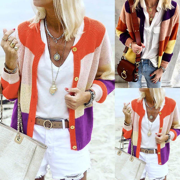 Colorblock Petite Knit Cardigan Sweater