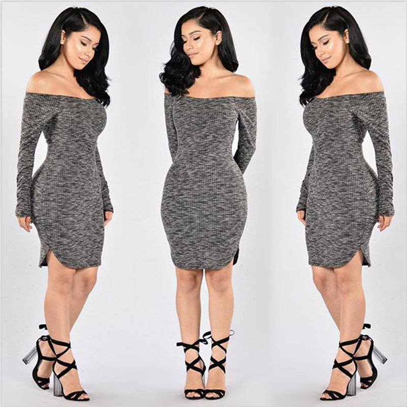 Fashion Sexy Off Shoulder Knitting Irregular Dress