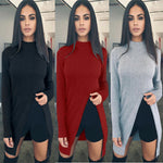 Fashion Front Split High Neck Long Sleeve Knit Long Sweater
