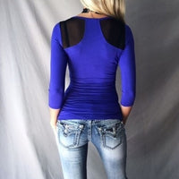Big Scoop Patchwork Sexy Slim T-shirt