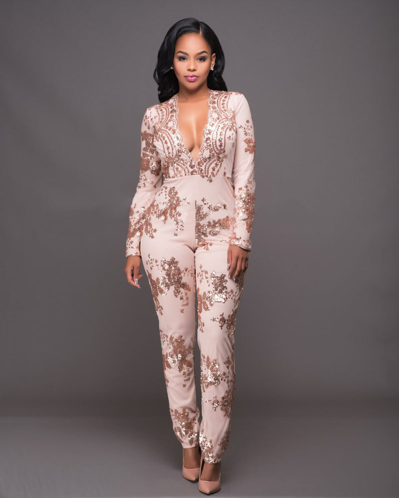 Sequins Deep V-neck Long Sleeve High Waist Long Jumpsuit