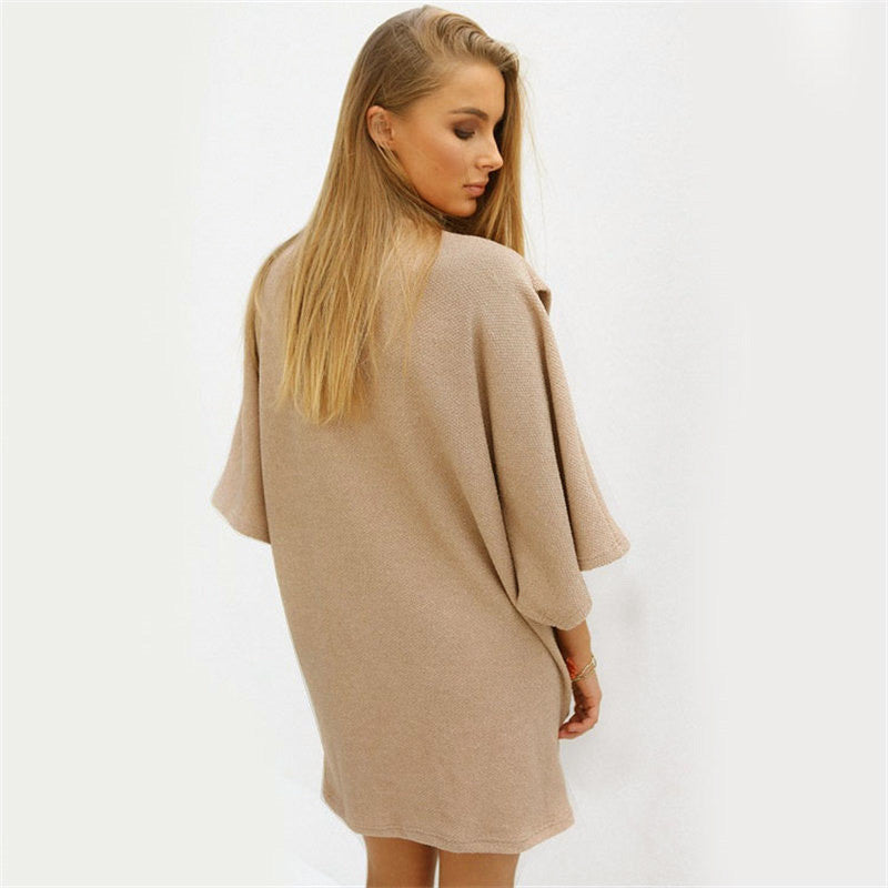 Fashion High Neck Wide Sleeve Loose Irregular Short Dress
