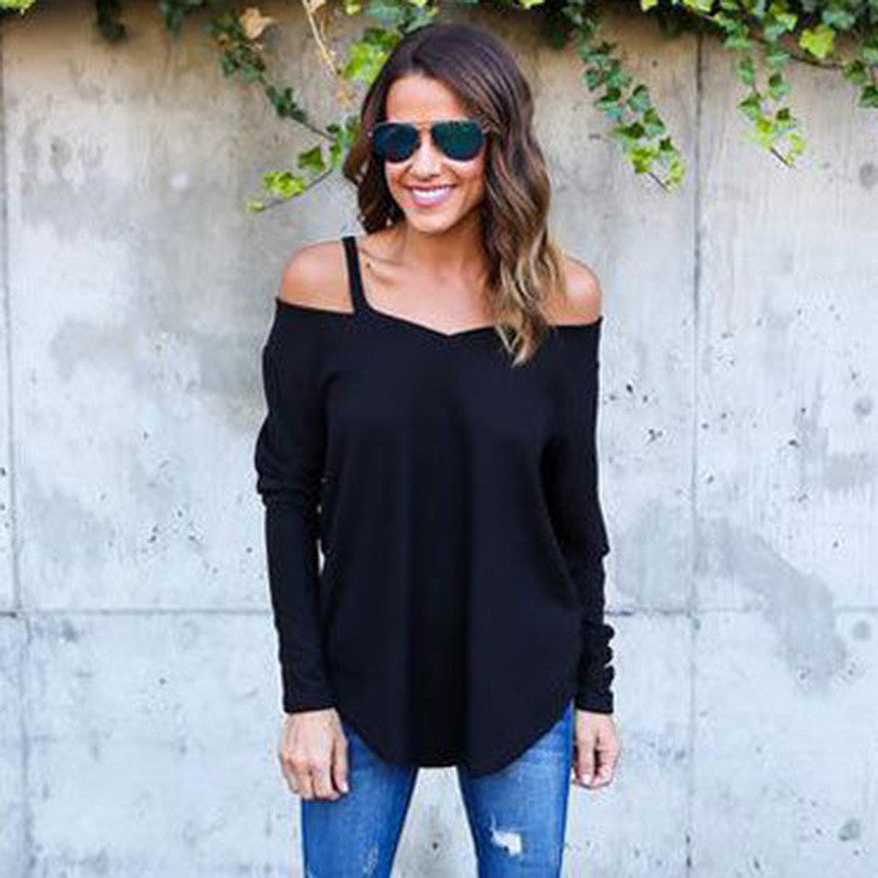 Pure Color V-neck Loose Irregular Blouse