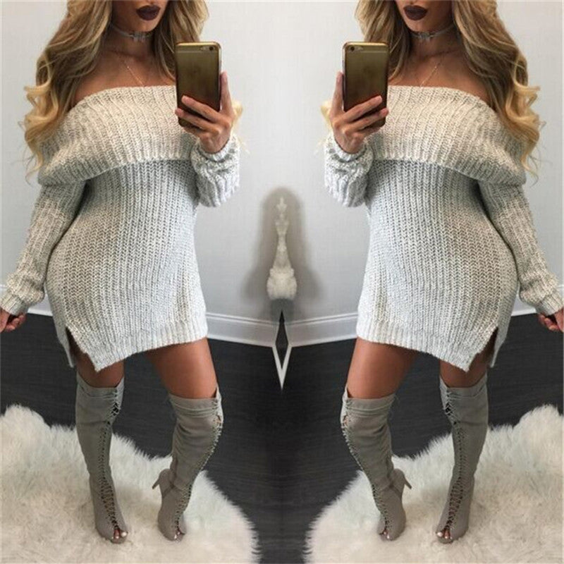 Pure Color Off Shoulder Side Slit Long Sleeve Knit Sweater Dress