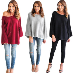 Fashion Bell Sleeve Scoop Knit Loose Pullover Sweater