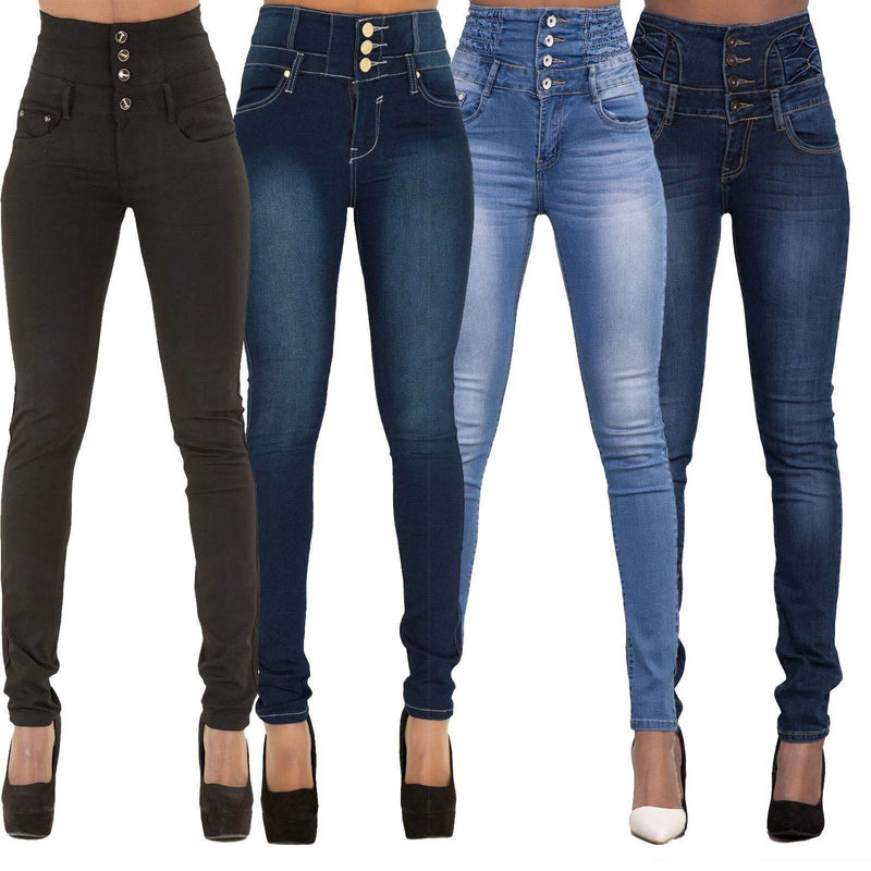 Sexy High Elastic Waist Three Buttons Pencil Pants