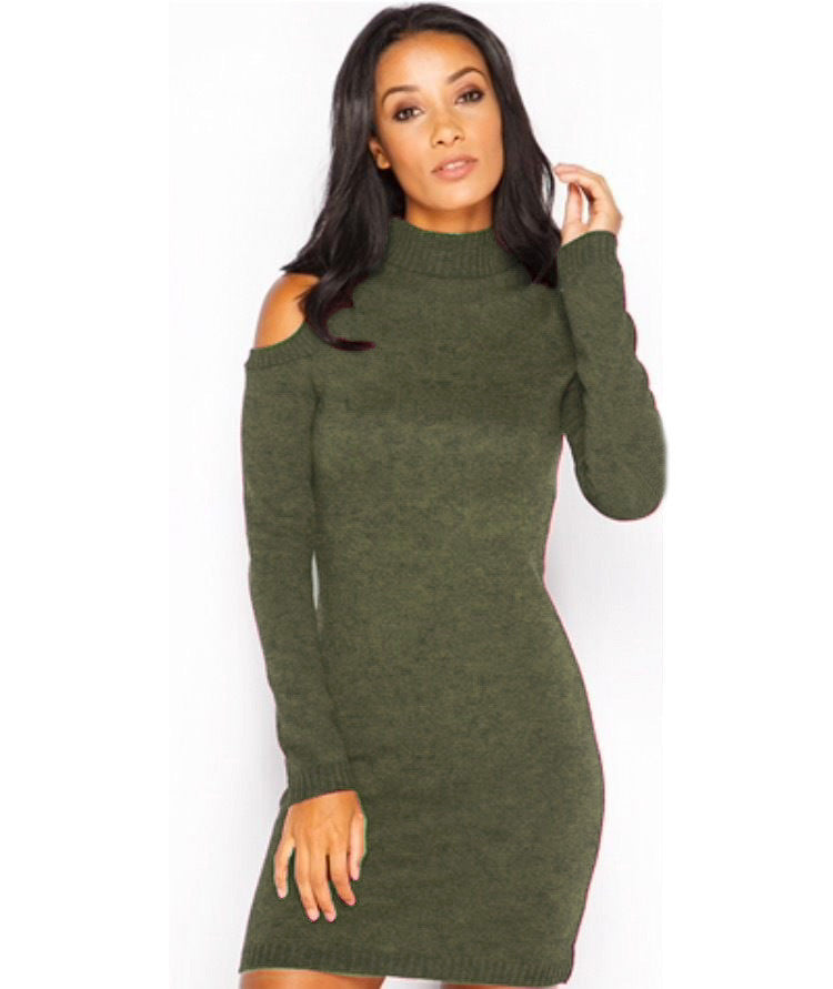 High Neck Dew Shoulder Long Sleeve Short Bodycon Knit Dress