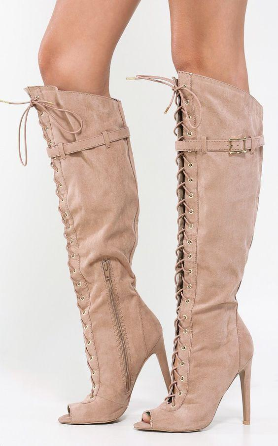 Peep Toe Lace Up Suede Zipper knee High Boots