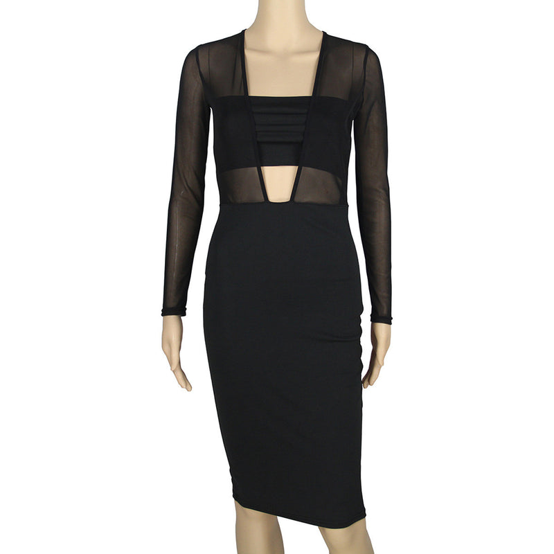 Black Mesh Patchwork Hollow Out Bodycon Knee-length Dress