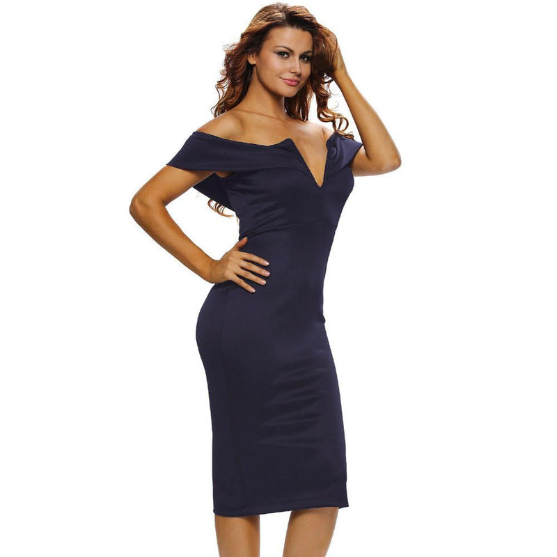 Off-Shoulder V-neck High Waist Slim Knee-length Dress