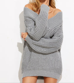 Personality Deep V Neck Loose Pure Color Chunky Knit Sweater