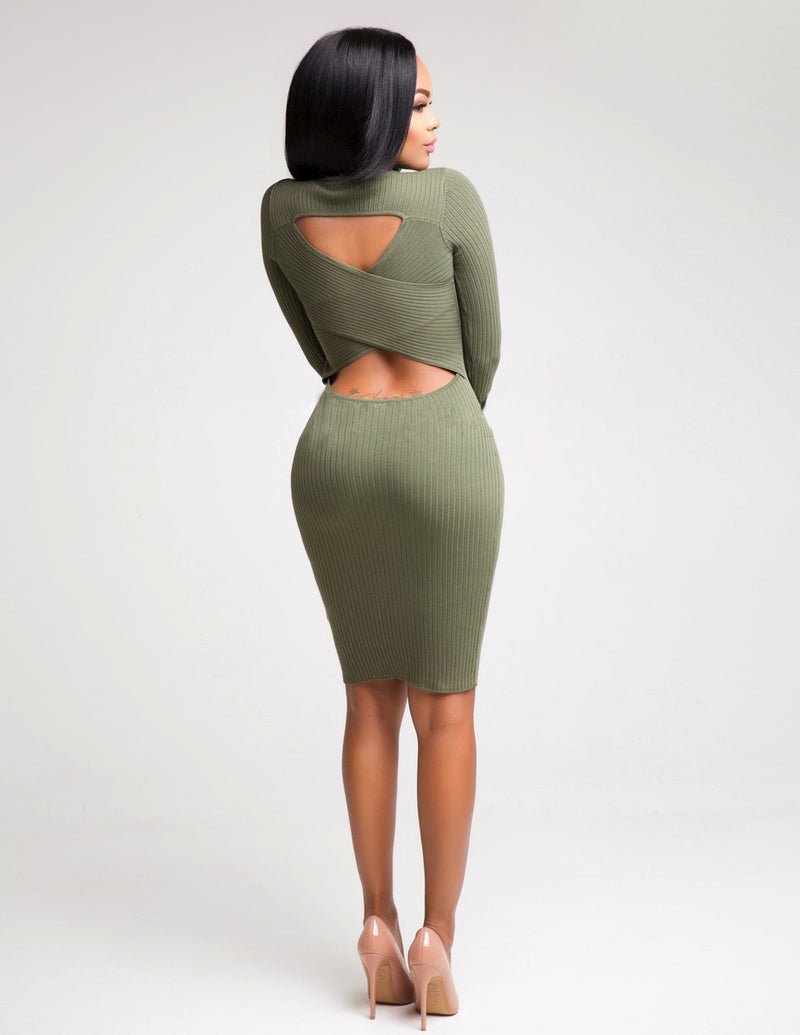 Sexy Hollow Out Back Bodycon Knee-length Dress