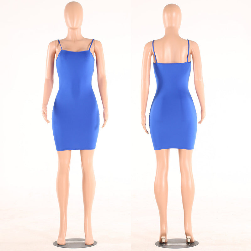 Sexy Spaghetti Strap Pure Color Short Bodycon Dress