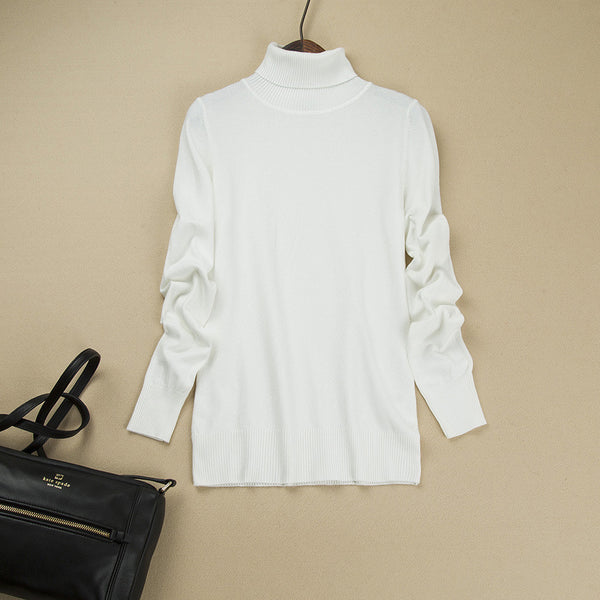 Fashion Pure Color High Neck Long Sleeve Slim Knit Sweater