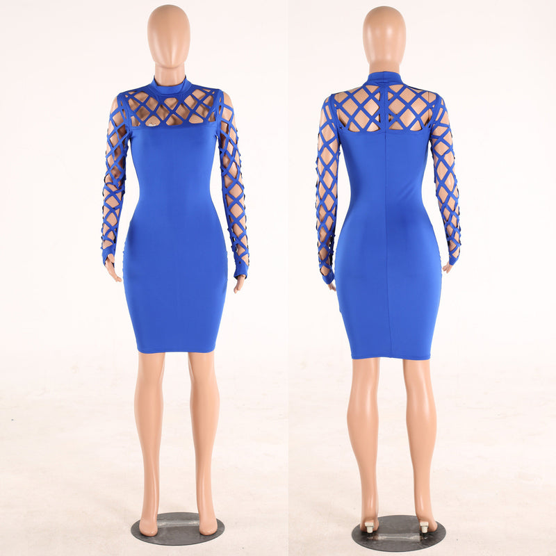 Hollow Out Bandage Long Sleeve Sexy Night Club Dress