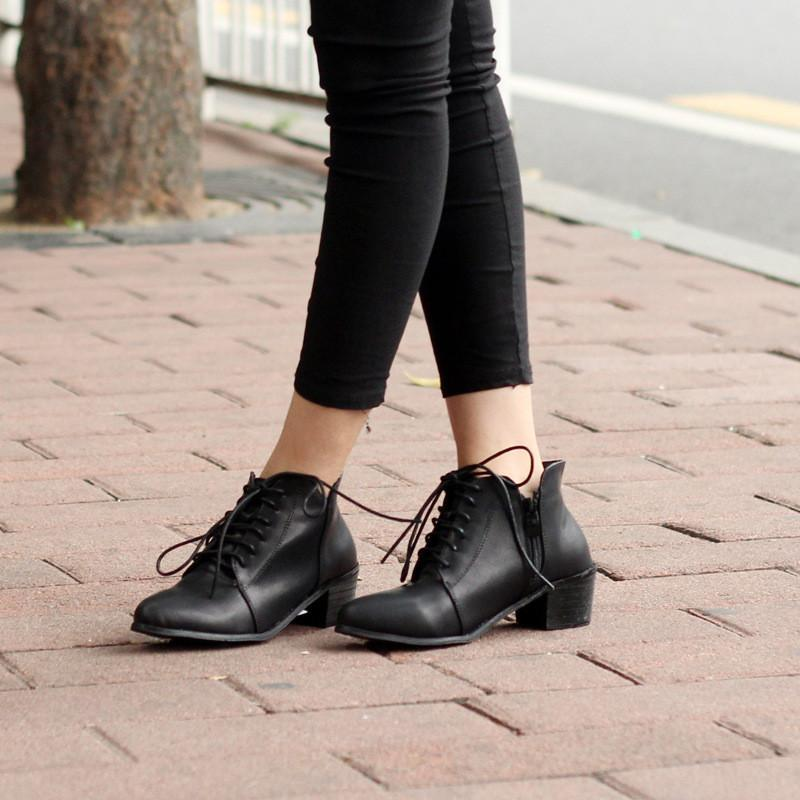 Simple Lace Up Brush Color PU Boots
