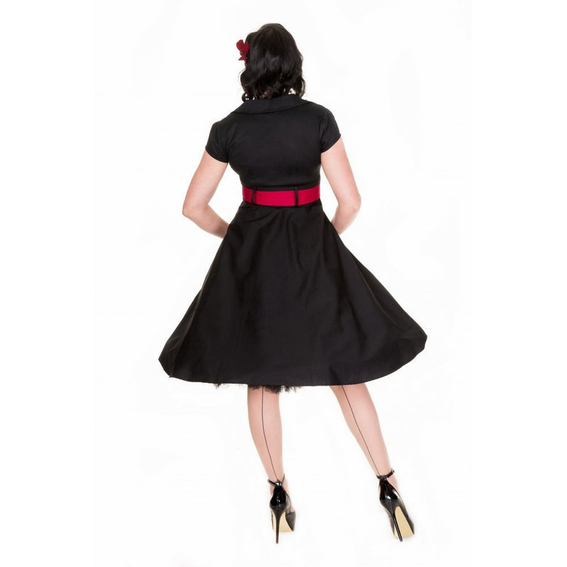 Retro Sexy A-line Patchwork Knee-length Belt Dress