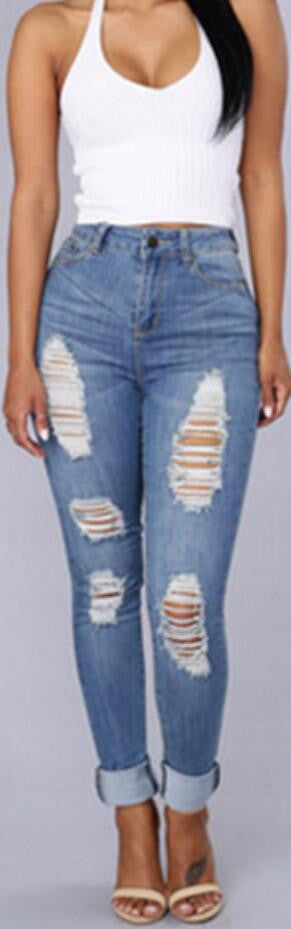 High Waist Light Blue Ripped Slim Pants