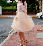 Gorgeous Multi-layer Pure Color A-line Tulle Skirt