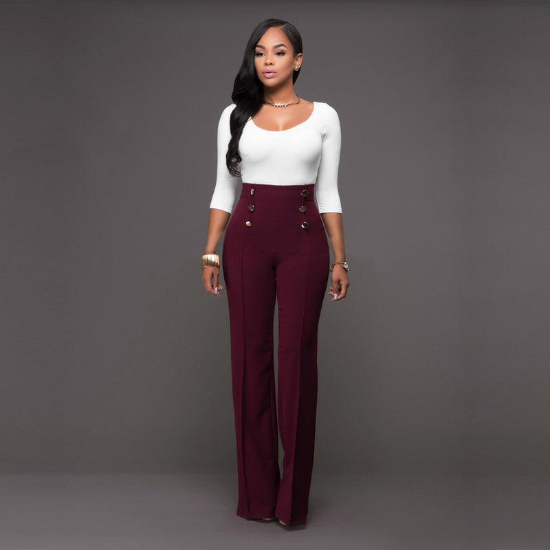 Pure Color High Waist Wide Leg Long Pants