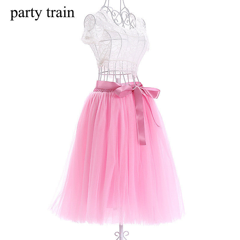 Romantic Multi-layer Pure Color A-line Tulle Skirt