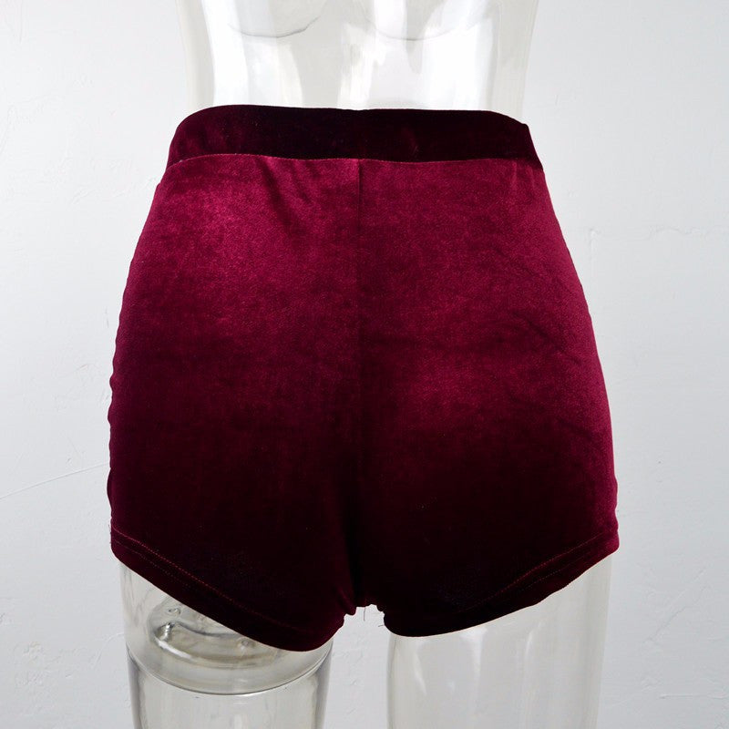 Fashion Pleuche High Waist Draw String Push Up Shorts