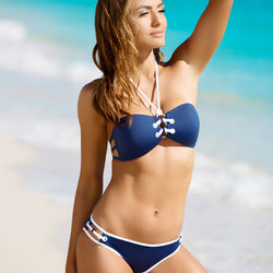 Sexy Drawstring Halter Bikini Two Pieces Swimwear