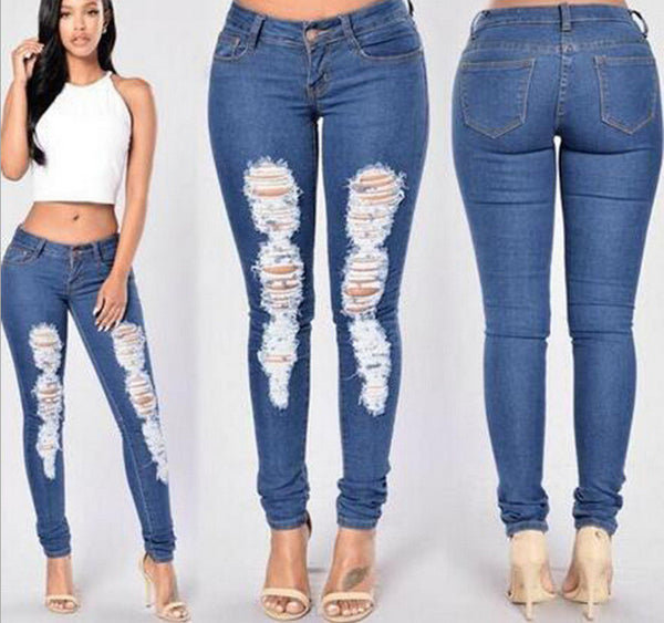 Ripped Low Waist Slim Silhouette Sexy Jeans Pants