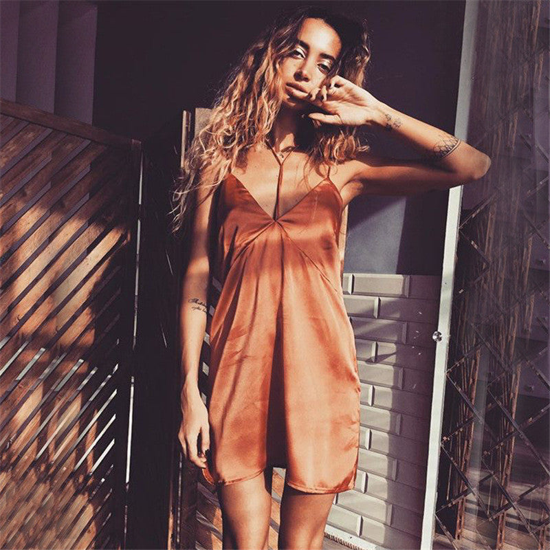 Stitching Backless Wrapped Chest Spaghetti Strap Short Dress