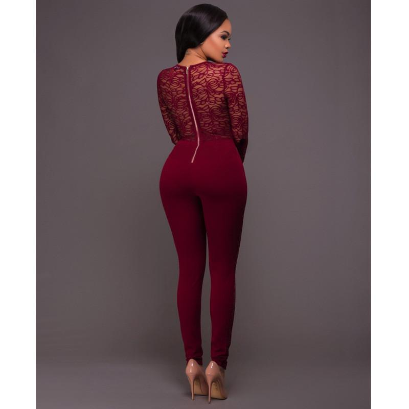 Lace Patchwork Long Sleeve Back Zipper Slim Long Jumpsuit
