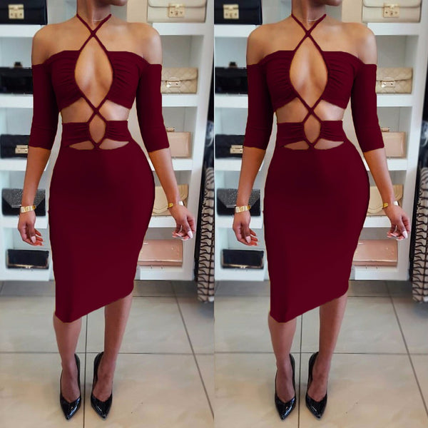 Elastic Solid Color Hollow Out Sexy Halter Bodycon Knee Length Dress