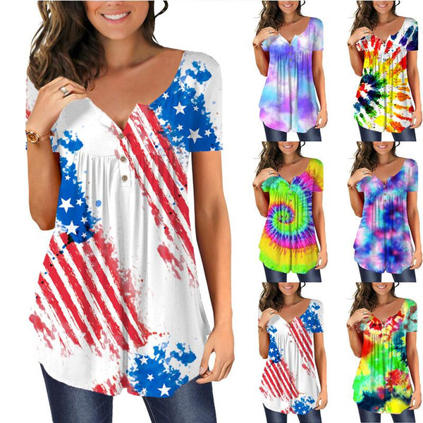 Casual Tie Dye Short Sleeve Loose T-shirts