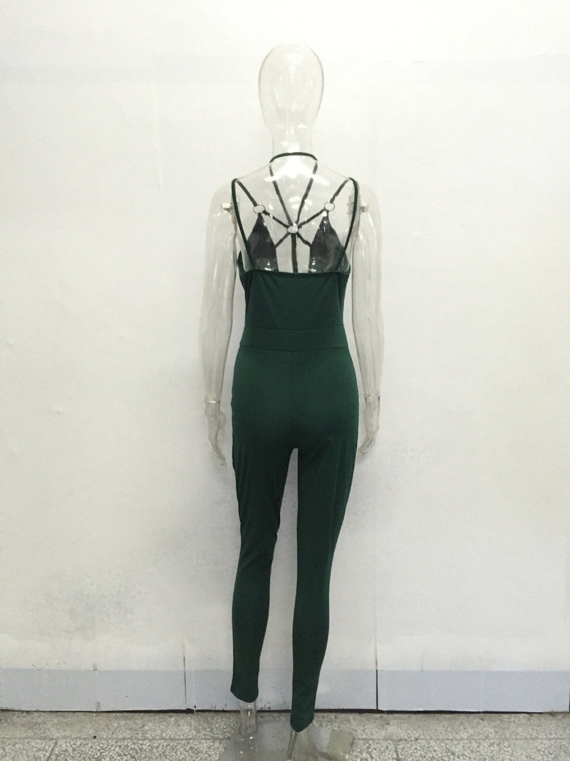 Hollow Out Lace Up Sleeveless Long Slim Jumpsuit
