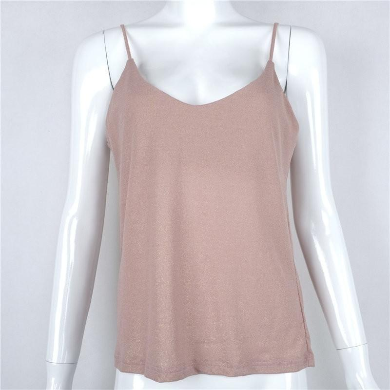 Pink Gilding Spaghetti Strap Pure Color Tank Top