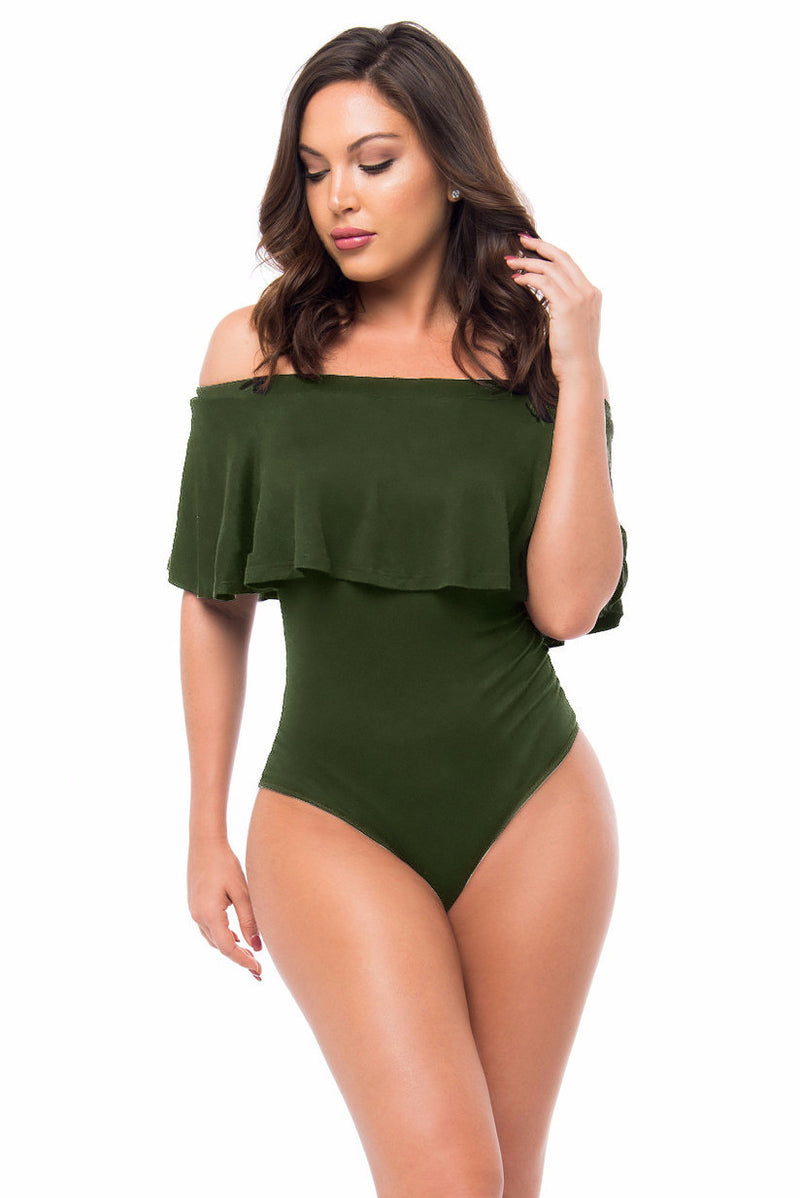 Sweet Off-Shoulder Falbala Pure Color One Piece Swimwear