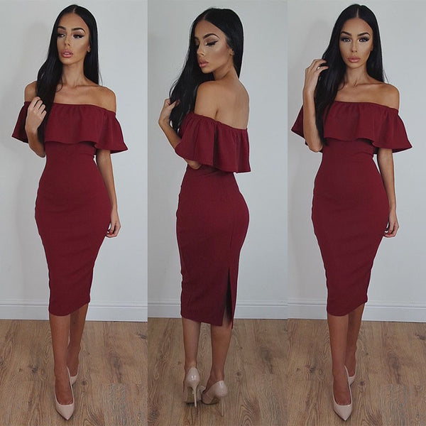 Off Shoulder Ruffle Solid Sheath Knee-length Dress