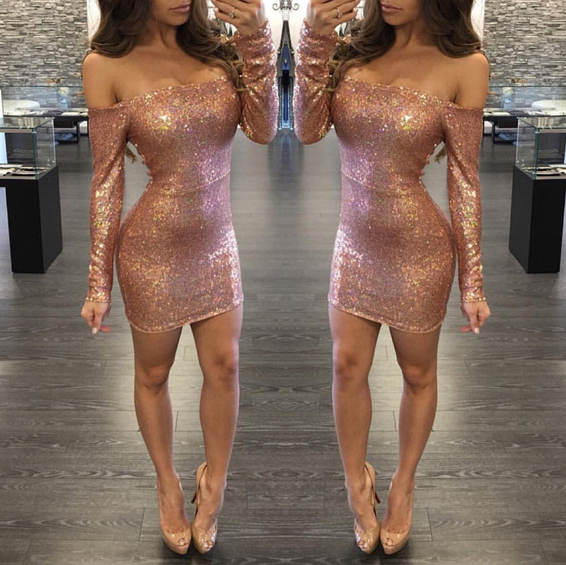 Sexy Sequins Off Shoulder Long Sleeve Short Bodycon Dress