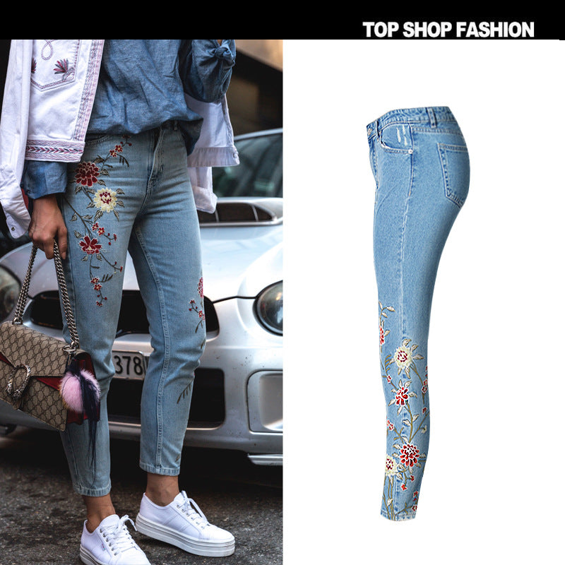 3D Embroidery Flowers High Waist 9/10 Pencil Jeans