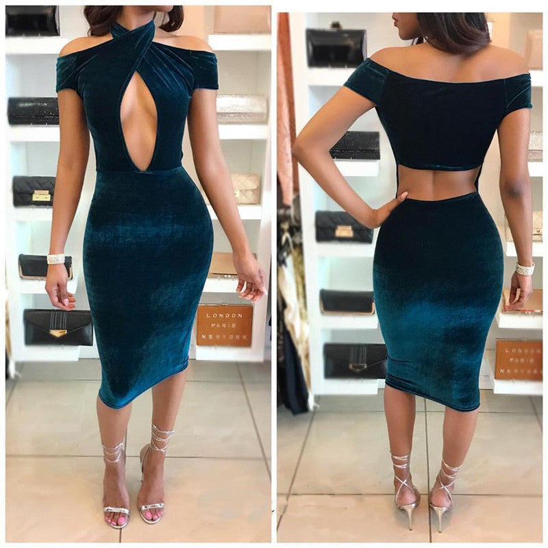 Sexy Off Shoulder Halter Hollow Out Knee-length Bodycon Dress