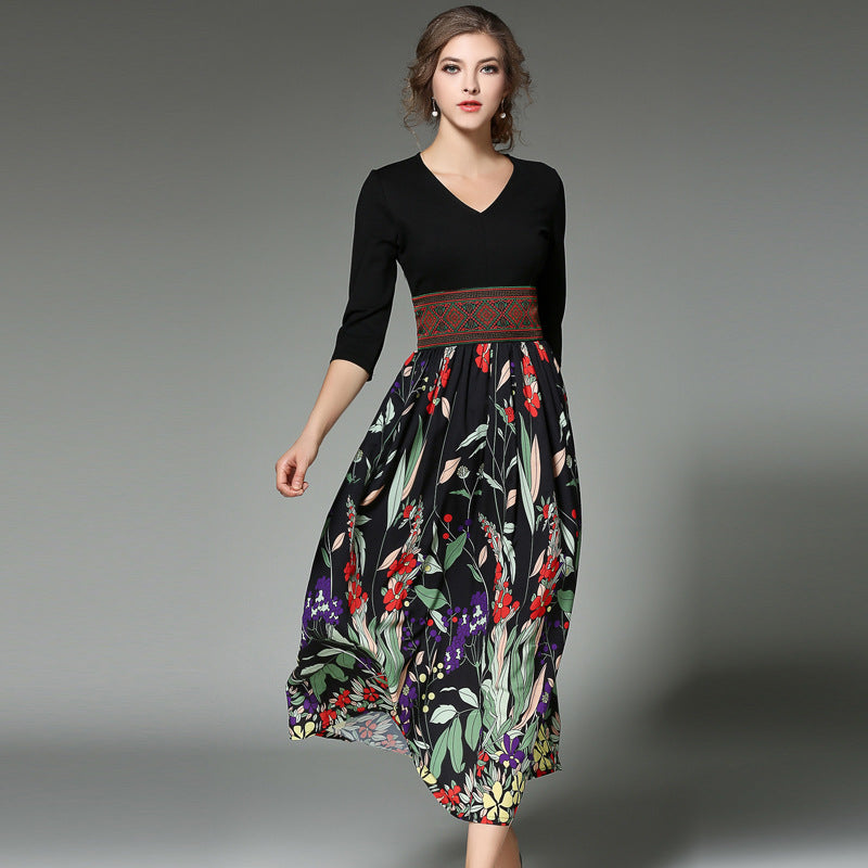 Print Half Sleeves Chiffon High Waist Tee-length Dress