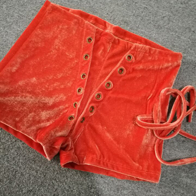 High Waist Lace Up Velvet Slim Shorts