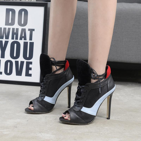 Free Shipping Clearence Patchwork Color Block Open Toe Lace Up Stiletto High Heels Sandals