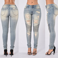 High Waist Draped Design Ripped Pencil Pants