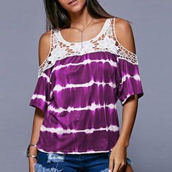 Lace Hollow Out Stripe Bear Shoulder Loose Blouse