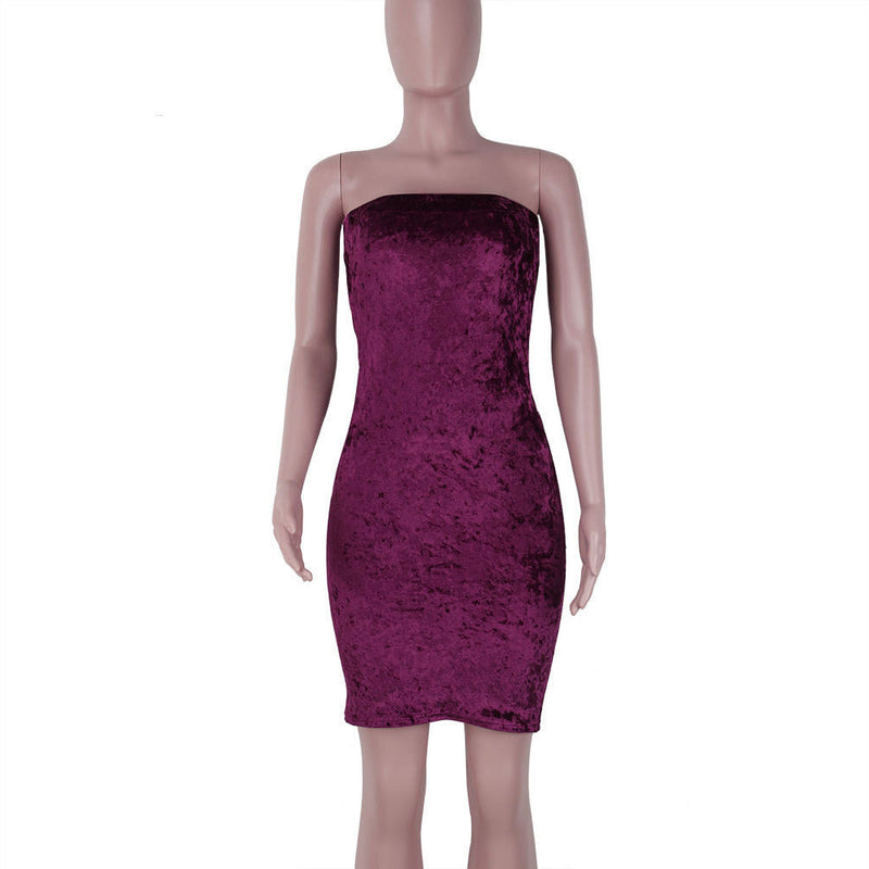 Sexy Strapless Velvet Bodycon Knee-Length Party Dress
