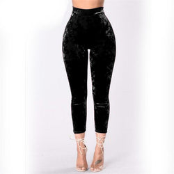 Women's High Waist Pleuche Elastic Slim 7/10 Pants
